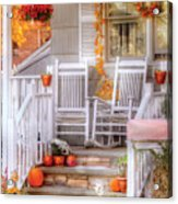 Autumn - House - My Aunts Porch Acrylic Print by Mike Savad