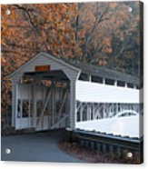 Autumn At Knox Covered Bridge In Valley Forge Acrylic Print by Bill Cannon