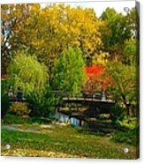 Autumn At Lafayette Park Bridge Landscape Acrylic Print
