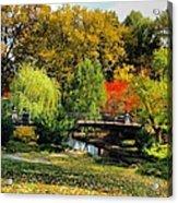 Autumn At Lafayette Park Bridge Square Acrylic Print