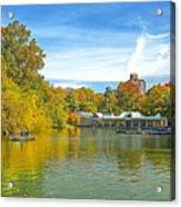 Autumn Central Park Lake And Boathouse Acrylic Print
