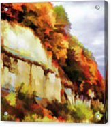 Autumn Cliffs On Way To Hannibal, Missouri Acrylic Print