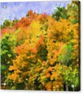 Autumn Country On A Hillside II - Digital Paint Acrylic Print