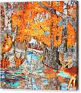 Autumn Deer Birch Background Acrylic Print