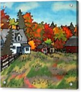 Autumn Farmstead Silk Painting Acrylic Print