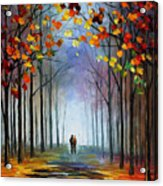 Autumn Fog 4 - Palette Knife Oil Painting On Canvas By Leonid Afremov Acrylic Print