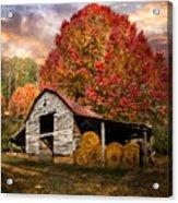 Autumn Hay Barn Acrylic Print