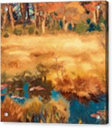 Autumn Landscape With Fox Acrylic Print