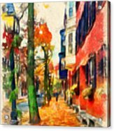 Autumn On The Streets Of Boston Acrylic Print