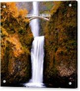 Autumn Orange Multnomah Falls Acrylic Print
