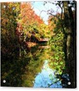 Autumn Park With Bridge Acrylic Print