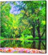 Autumn Pond In Gladwyne Acrylic Print by Bill Cannon
