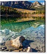 Autumn Reflection Of Pyramid Mountain Acrylic Print