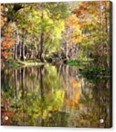 Autumn Reflection On Florida River Acrylic Print by Carol Groenen