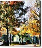 Autumn Street With Yellow House Acrylic Print
