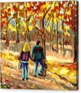 Autumn  Stroll On Mount Royal Acrylic Print