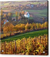 Autumn View Of Church On The Rural Hills Acrylic Print
