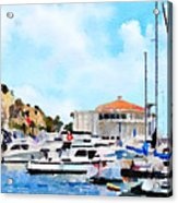 Avalon Casino Harbor, Catalina Acrylic Print