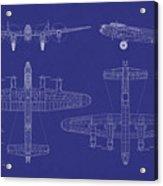 Avro Lancaster Bomber Blueprint Acrylic Print