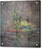 Awakening Abstract 1 Black Background Bright Detail Acrylic Print by Lizzy Forrester