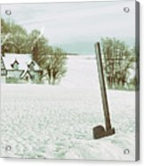 Axe In Snow Scene Acrylic Print