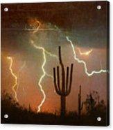Az Saguaro Lightning Storm Acrylic Print