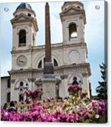 Azaleas On The Spanish Steps In Rome Acrylic Print