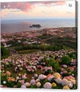 Azorean Town At Sunset Acrylic Print