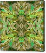 Aztec Kaleidoscope - Pattern 009 - Dark Olive Acrylic Print