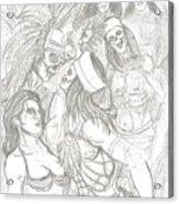 Aztec Warriors With Female Acrylic Print