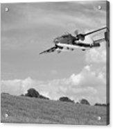 B-25 Warbird Returns - Black And White Acrylic Print