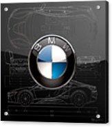 B M W  3 D  Badge Over B M W I8 Silver Blueprint On Black Special Edition Acrylic Print