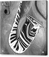 Piano Keys In A Saxophone B/w - Music In Motion Acrylic Print