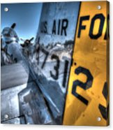 B17 And Her P51 Mustang Escort Sit Ready Acrylic Print