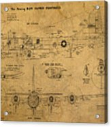 B29 Superfortress Military Plane World War Two Schematic Patent Drawing On Worn Distressed Canvas Acrylic Print