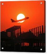 B747 Sunset Take-off Acrylic Print