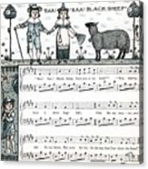 Baa Baa Black Sheep Antique Music Score Acrylic Print