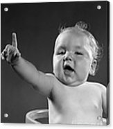 Baby Appearing To Make A Point Acrylic Print