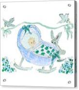 Baby Boy With Bunny And Birds Acrylic Print