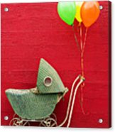 Baby Buggy With Red Wall Acrylic Print