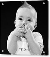Baby Covering Mouth With Hands, C.1950s Acrylic Print
