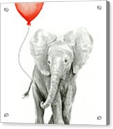Baby Elephant Watercolor Red Balloon Acrylic Print