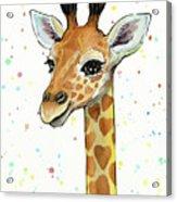 Baby Giraffe Watercolor With Heart Shaped Spots Acrylic Print