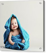 Baby Girl Covered With A Blue Warm Blanket Acrylic Print