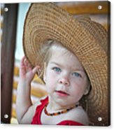 Baby Girl Wearing Straw Hat Acrylic Print