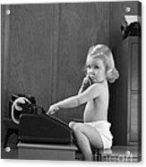 Baby Girl With Adding Machine, C.1940s Acrylic Print