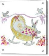 Baby Girl With Bunny And Birds Acrylic Print