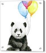 Baby Panda Watercolor With Balloons Acrylic Print