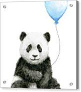 Baby Panda With Blue Balloon Watercolor Acrylic Print