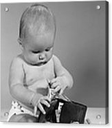 Baby Taking Money From Wallet, C.1960s Acrylic Print